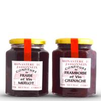 Divine Box de septembre - Confiture fraise et vin merlot ou confiture framboise et vin grenache - Monastère du Jassonneix