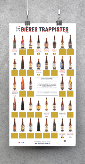 Poster à gratter de bières trappistes - accroché