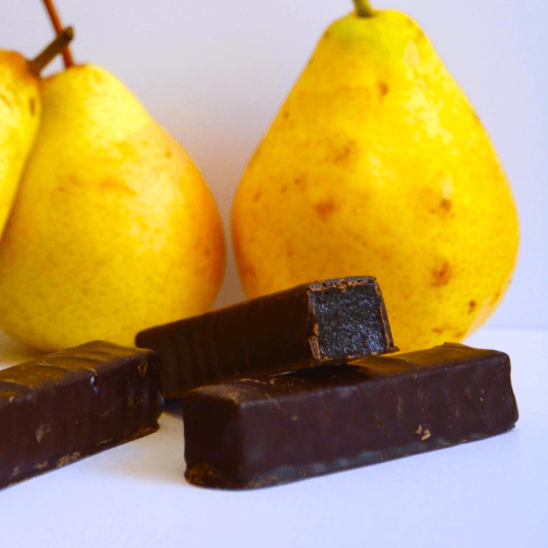 Pâtes de fruit enrobées de chocolat - Poire - abbaye Notre-Dame de Tournay - Divine Box