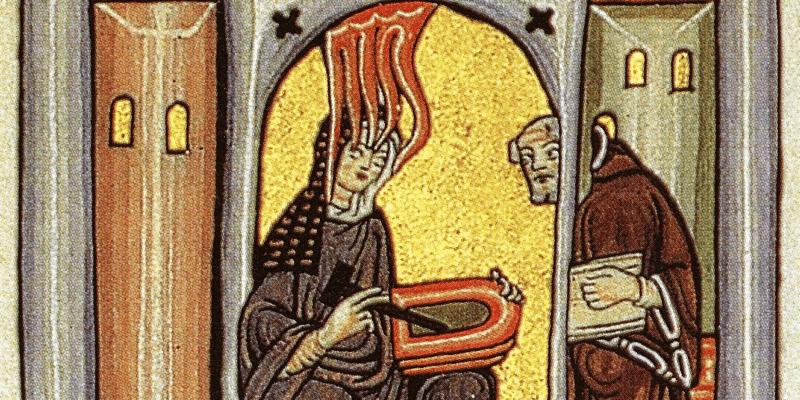 Ancienne représentation de saint Hildegarde de Bingen, enseignant le brassage avec du houblon à un autre moine. C'est elle qui a en effet instauré le houblon dans la bière!