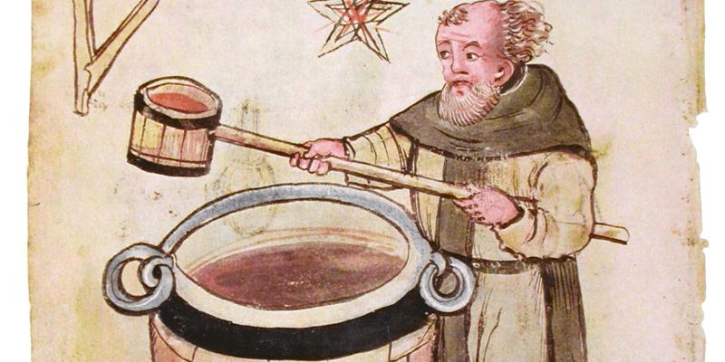 Vieux dessin d'un moine brassant la bière au Moyen Âge! Ce sont eux qui, dans leurs abbayes, ont tout mis au point et tout inventé!