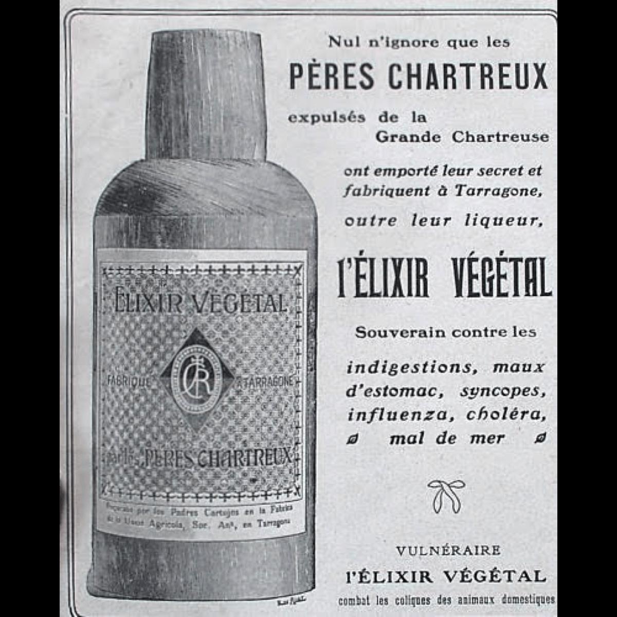 Cet encart de 1929 présente l'élixir végétal de la Grande Chartreuse, souverain contre «les indigestions, maux d'estomac, syncopes, influenza, choléra et mal de mer»