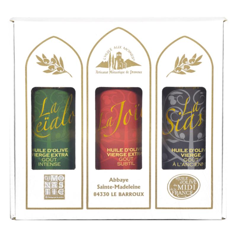 Coffret 3 huiles d'olive 3x50cL - Abbaye du Barroux - Divine Box