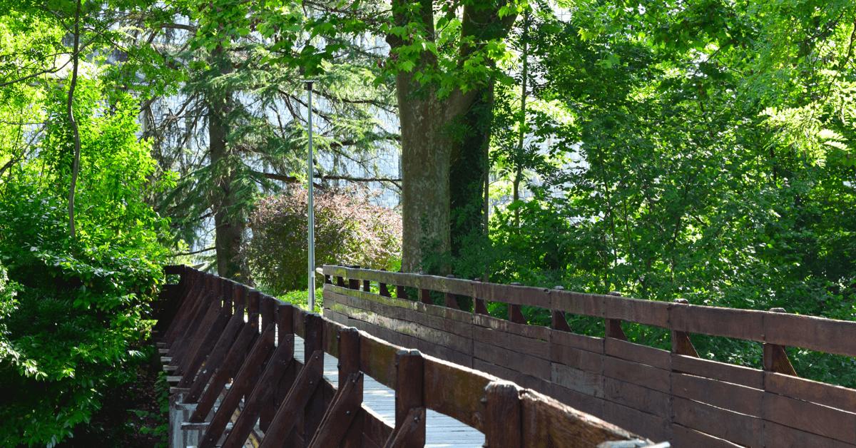 La clôture, qui sépare l'abbaye de Tournay avec le reste du monde, est symbolisée par un pont en bois au dessus de l'Arros