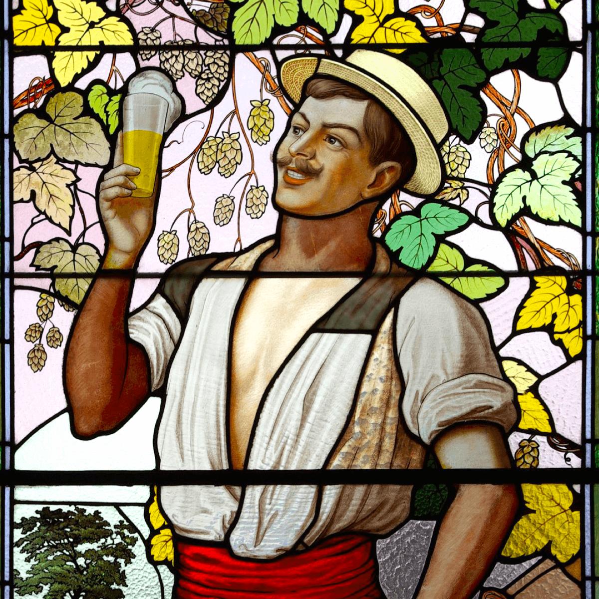Un brasseur représenté sur un vitrail de la brasserie de Saint Nicolas de Port en Lorraine - Divine Box