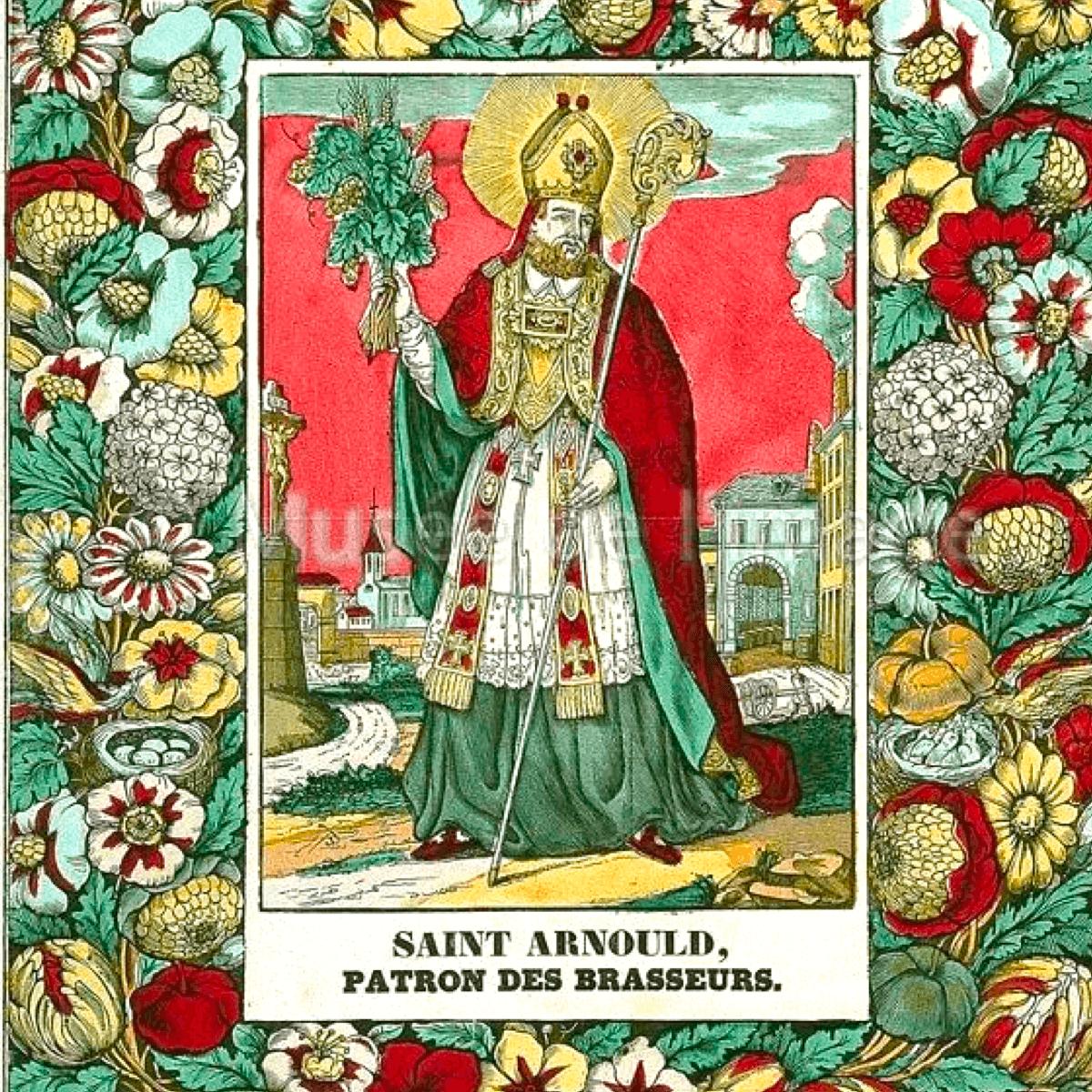 Le saint patron des brasseurs avec les ingrédients de la bière à la main : le malt d'orge et le houblon - Divine Box