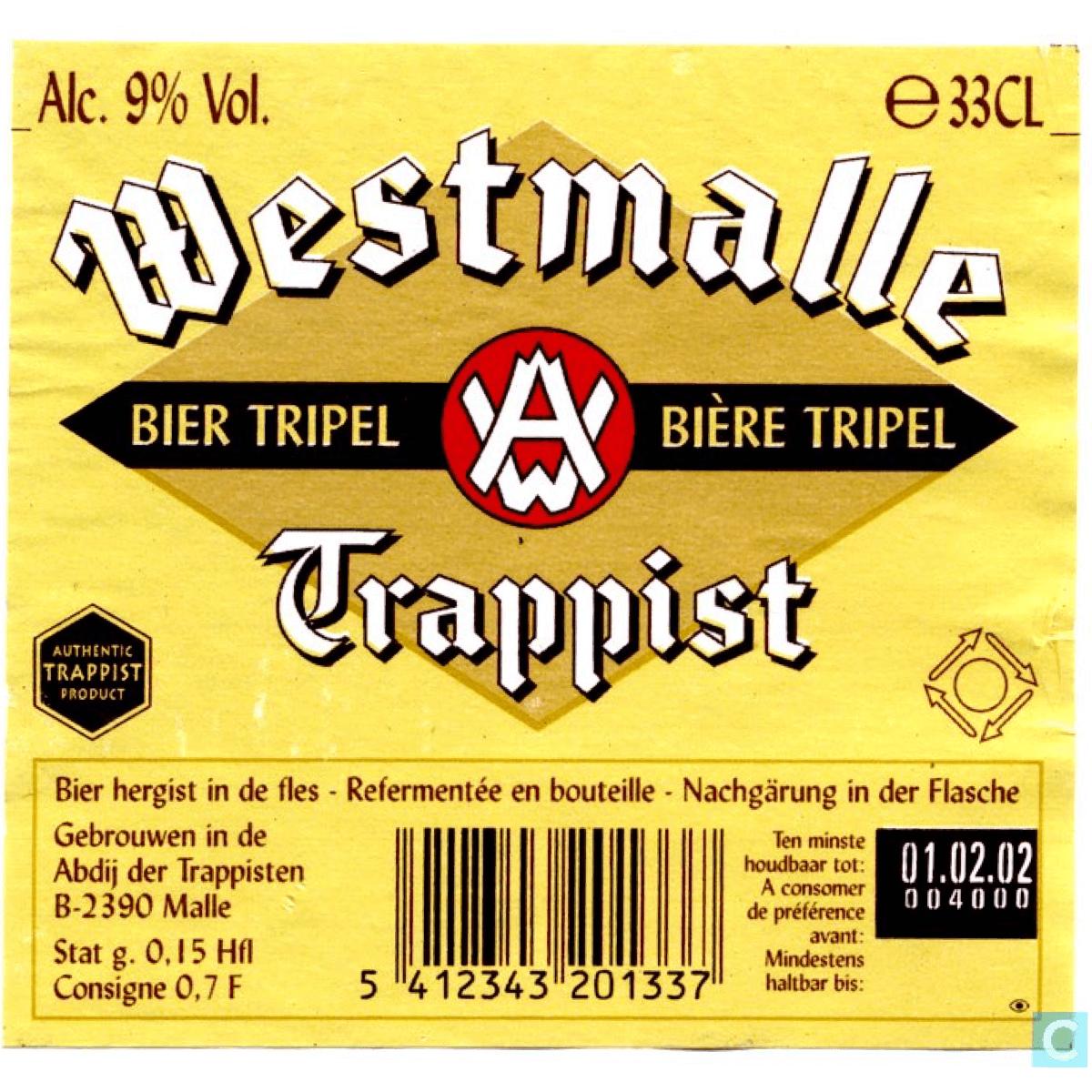 Le logo «Authentic Trappist Product» présent sur l'étiquette de la Westmalle Tripel atteste que la bière est bien brassée sous le contrôle des moines dans leur abbaye