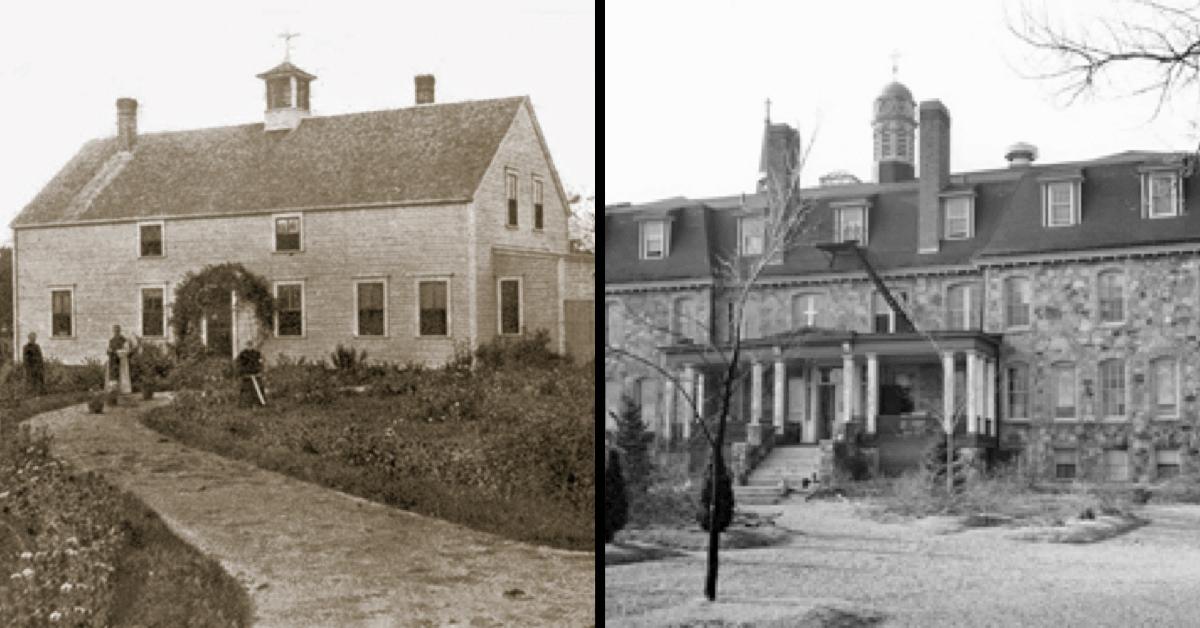 Ci-dessus, le tout premier monastère de Notre-Dame de la vallée en 1900 (à gauche), et le nouveau quelques années plus tard (à droite)