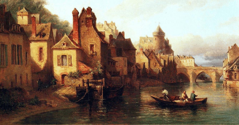 Ce tableau représente les bords de la Mayenne, près d'Avesnières, où les soeurs de l'abbaye de La Coudre se sont installées au XIXe siècle