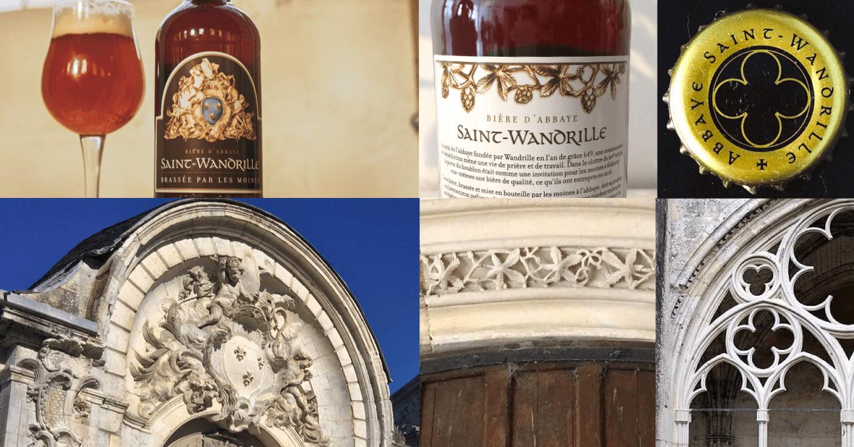 L'étiquette des bières de Saint-Wandrille reprend le blason de l'abbaye, présent sur la porte de Jarente, la « frise du houblon », et l'un des motifs du cloître
