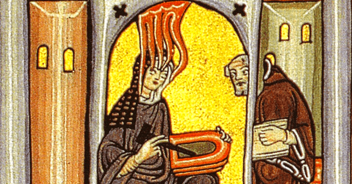 Sainte Hildegarde instruisant le brassage avec du houblon à un moine. - Manuscrit médiéval