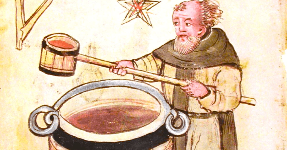 Vieux dessin d'un moine qui brasse de la bière au Moyen-Âge. - Divine Box