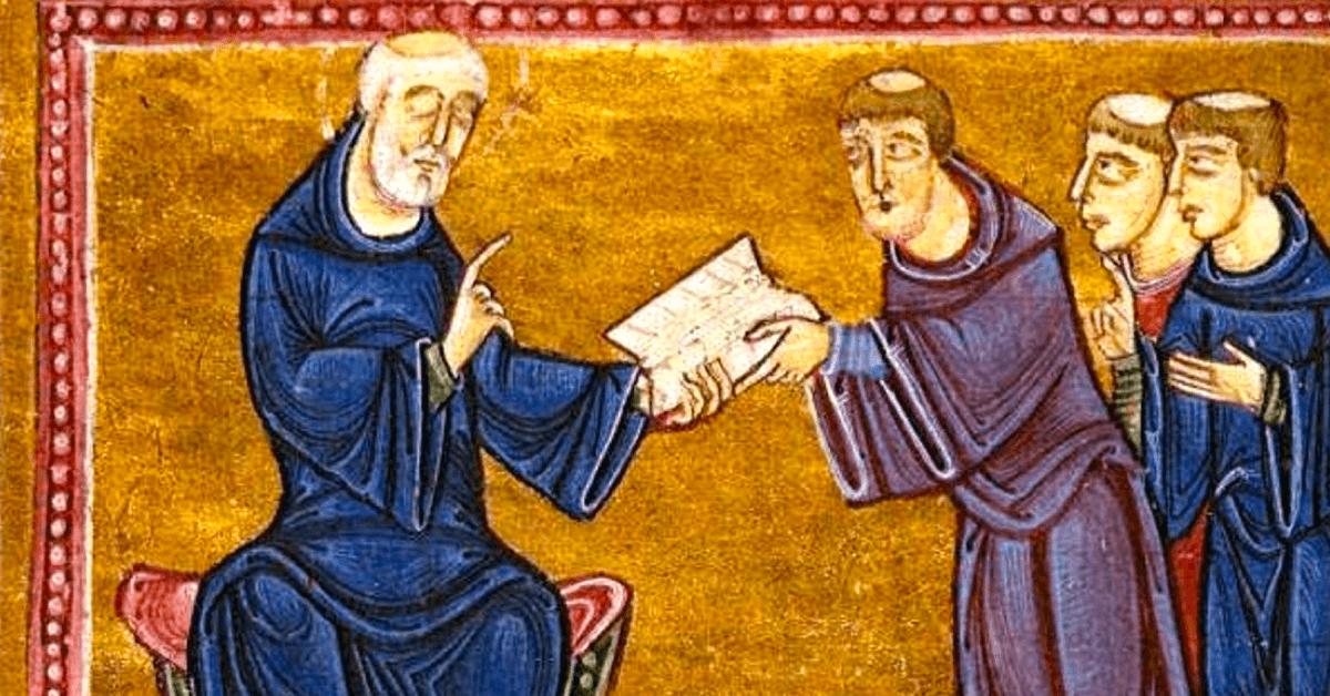Saint Benoît transmettant sa règle à ses disciples. - British Library